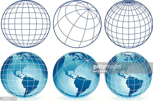 different wire frame globes