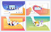 Digital Advertising Marketing Landing Page Set. Business Character Social Communication Concept. Online Media Strategy for Website or Web Page. Flat Cartoon Vector Illustration
