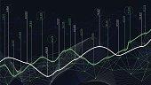 Digital analytics concept, data visualization, financial schedule, vector, analytics, data, graph, binary
