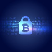 digital bitcoin symbol with secured lock shape background