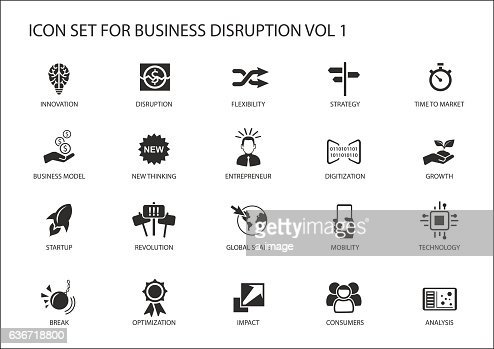 Digital business disruption icon set : stock vector