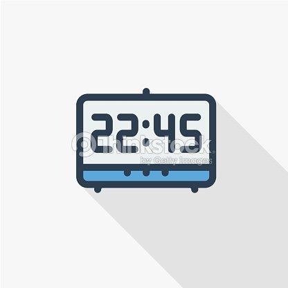 d9bf2dfd775e Reloj Digital Tiempo Reloj Delgada Línea Plana Color Icono Símbolo ...