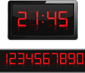 Red digital clock and numbers, vector eps10 illustration