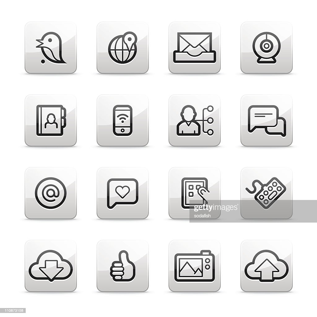 Digital communication and social network icons | Contour B series : Vector Art