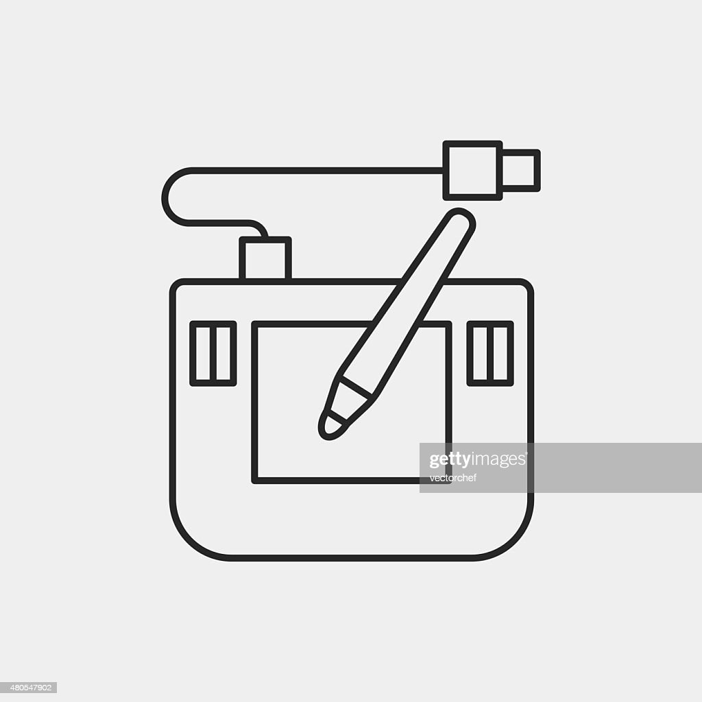 Digitale Zeichenbrett Linie-icon : Vektorgrafik