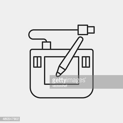 Ícone de linha Digital mesa de desenho : Arte vetorial