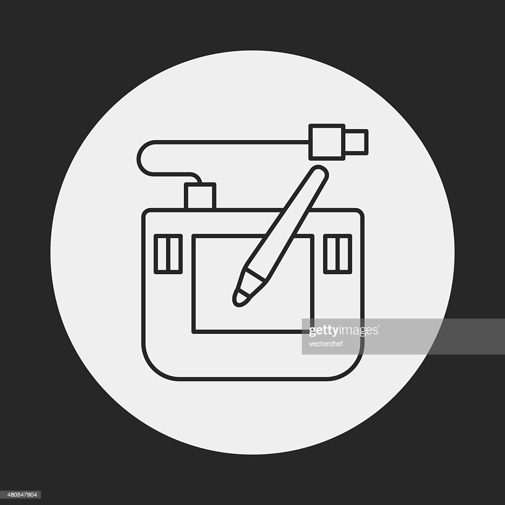 Digital Drawing Board line icon : Vector Art