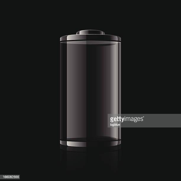 Digital graphic of a black battery on a black background