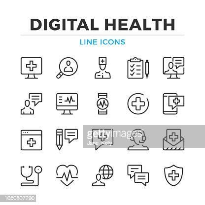 La santé numérique ligne icônes définies. Éléments de contour moderne, les concepts de design graphique. Accident vasculaire cérébral, style linéaire. Collection de symboles simples. Icônes de vecteur ligne : Clipart vectoriel