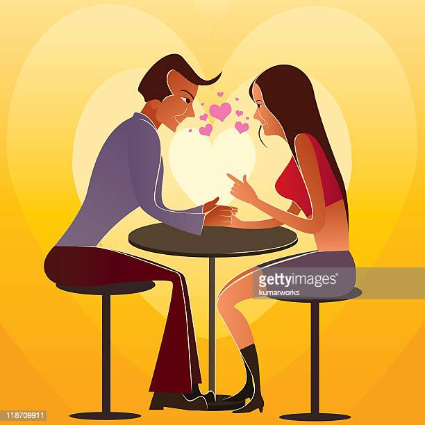 Digital illustration of a couple in romantic date