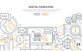 Digital marketing - modern line design style web banner on white background with copy space for text. A computer monitor with shopping cart on the screen, globe, megaphone, chats, comments, users