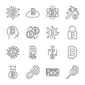 Digital money, bitcoin vector line icons, minimal pictogram design, editable stroke for any resolution. Editable Stroke. EPS 10