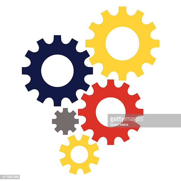 5 digital multi colored gears stock image