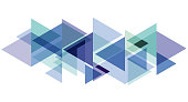 Digital painting. Abstract geometric colorful vector banner and background. Triangles and arrows in blue