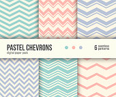 Digital paper pack, set of 6 abstract seamless patterns. Abstract geometric backgrounds. Vector illustration. Pale pastel chevron patterns. Blush pink, mint aqua blue and lilac pastels.