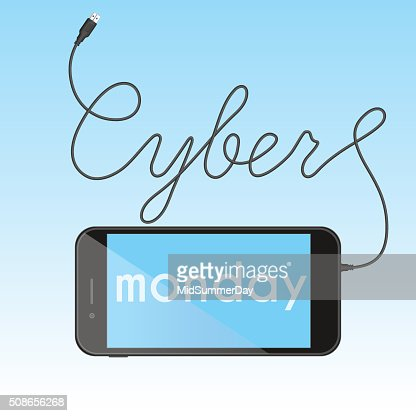 Digital promo text with smartphone for Cyber Monday. : Vector Art