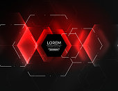 Digital techno abstract background, glowing hexagons, vector geometric hi-tech background with shiny light effects and figures, red color