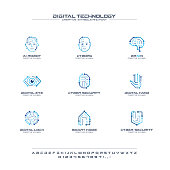 Digital technology creative symbols set, font concept. AI circuit brain abstract business pictogram. Cyborg face, head, smart robot hand icon. Corporate identity alphabet, sign, company graphic design