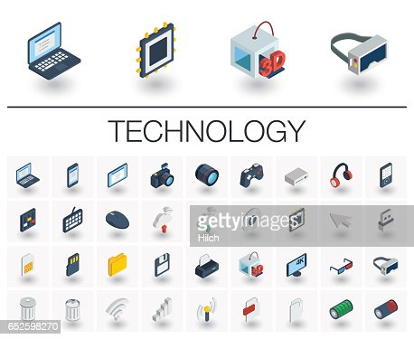 Digital technology isometric icons. 3d vector : stock vector