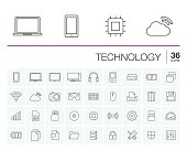 Vector thin line icons set and graphic design elements. Illustration with technology and digital outline symbols. Mobile phone, cloud computing, cogwheel, settings, network and media linear pictogram