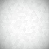 Digital triangle pixel mosaic, white and black color, hight key grayscale, abstract vector background