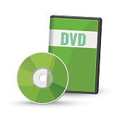 DVD digital video disc and case for storage, versatile optical disc round shape format vector illustration isolated on white background, recordable media