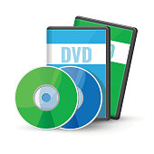 DVD digital video discs and cases for storage, versatile optical disc round shape format vector illustration isolated on white background, recordable media