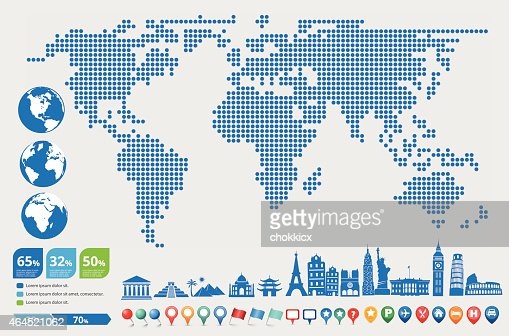 Digital World Map With Globe And Landmark Icons Vector Art