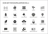 Digitalization icon vector set for topics like big data, business models, 3D printing, disruption, artificial intelligence, internet of things