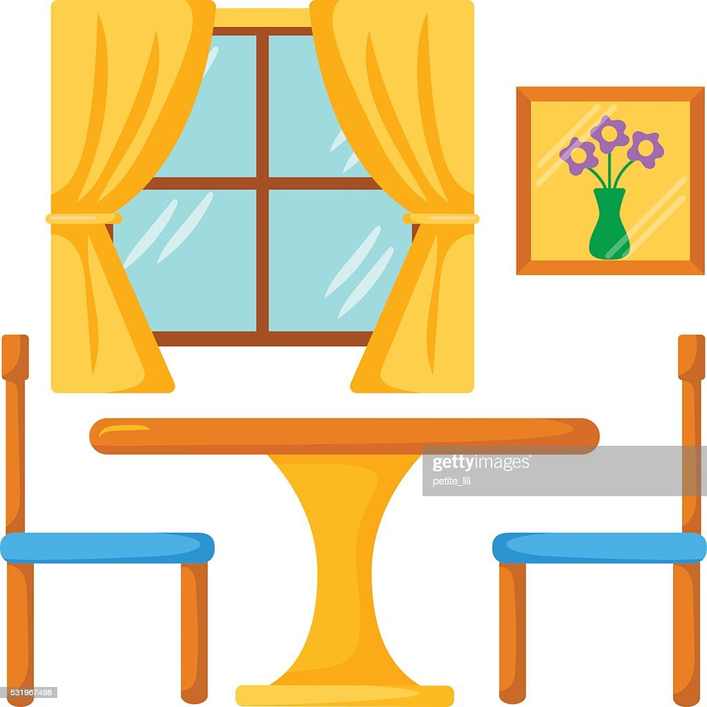 Dining Room Interior. Dinner Table With Chairs : Vector Art