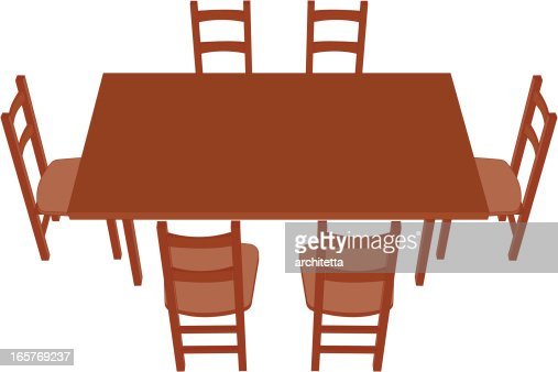 Dining Table Perspective Vector Art