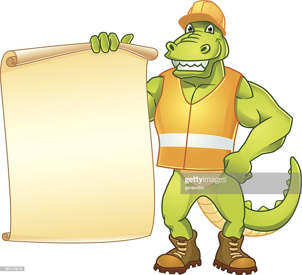 Dino Worker Message : Vector Art