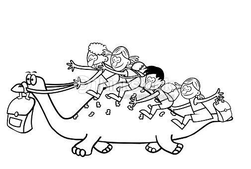 Dinosaur And Children Coloring Book Vector Art