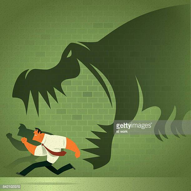 dinosaur chasing businessman