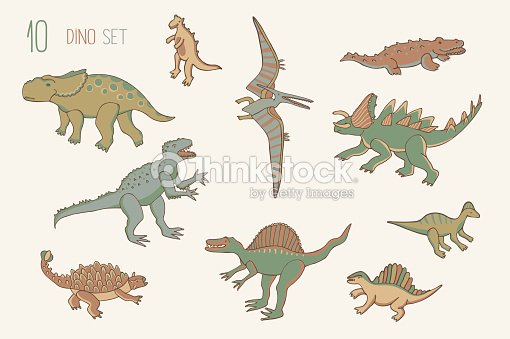 Dinosaurio Conjunto De Color Arte vectorial | Thinkstock