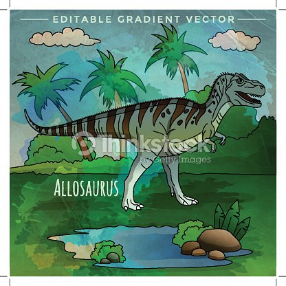 Dinosaur In The Habitat Vector Illustration Of Allosaur Stock Vector