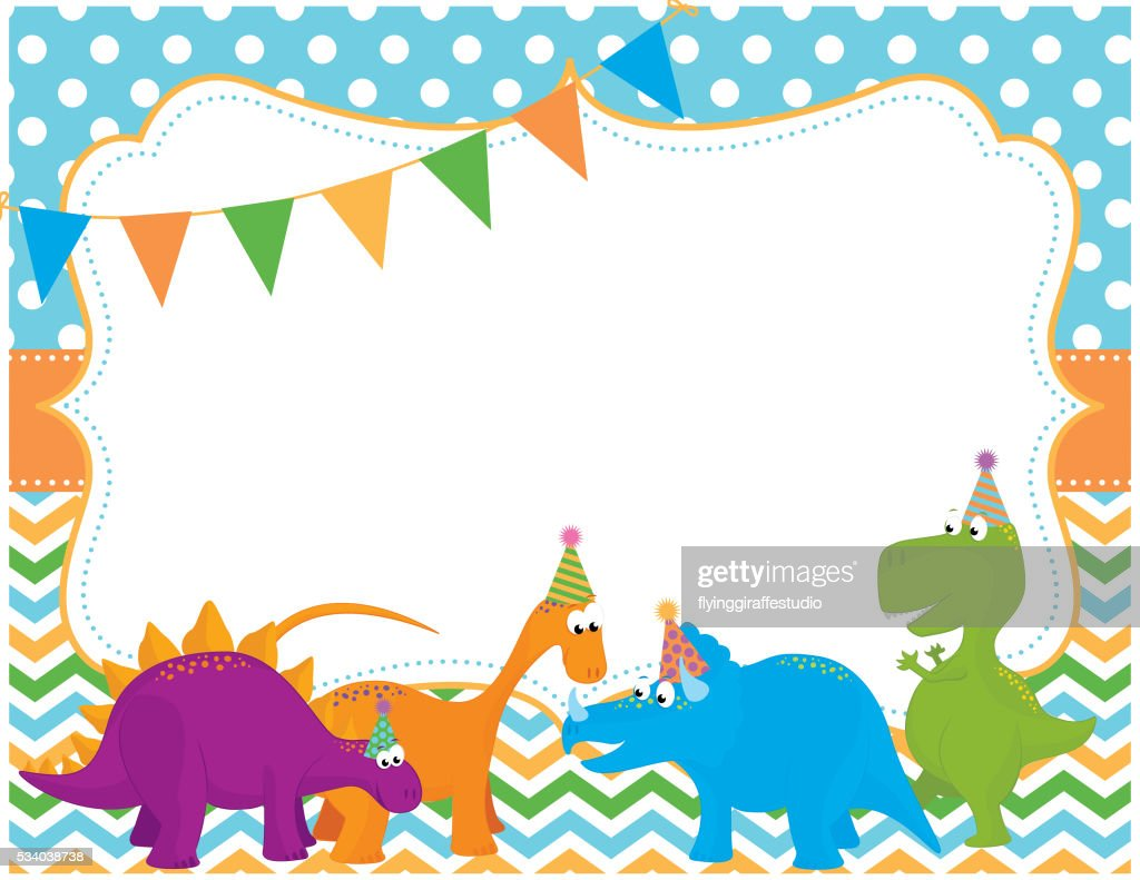 Dinosaur Party Invitation Card Vector Art | Getty Images