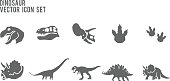Dinosaur Fossil and Skeleton in glyph icon style