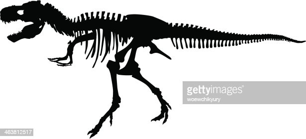Dinosaur Skeleton Vector Silhouette Vector Art | Getty Images