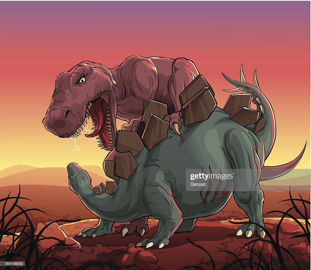 Dinosaurs fight: T-Rex vs Stegosaurus : Vector Art