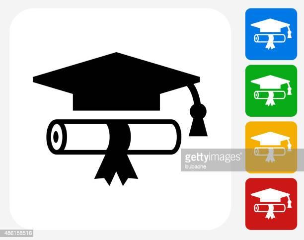 Diploma y sombrero de iconos planos de diseño gráfico