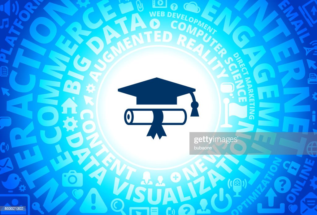 diploma and hat icon on internet modern technology words  diploma and hat icon on internet modern technology words background vector art
