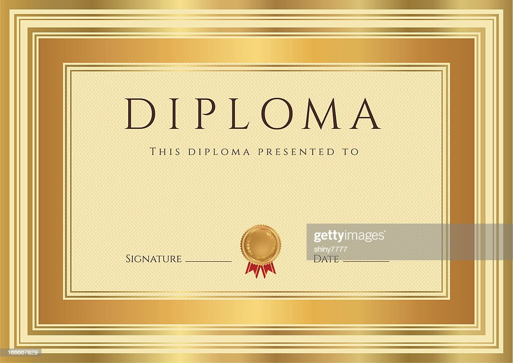 Diploma certificate award background design with bronze gold frame diploma certificate template award background design with bronze gold frame yadclub Image collections