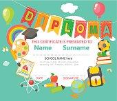 Kindergarten Preschool Elementary school Kids Diploma certificate background design template. Vector.