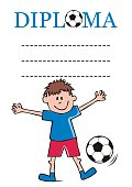 Diploma for footballers, vector illustration. Boy with soccer ball.