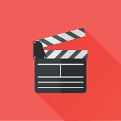 Director clapperboard flat icon with long shadow on red background. Movie clapper board. Vector Illustration.