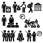 Human pictogram concept showing politician laundering money and other illegal activities for dirty money.