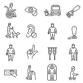 disability icons set, line style. assistance to disabled people isolated symbols collection. people with disabilities vector linear illustration