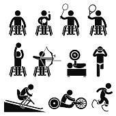 A set of human pictogram representing paralympic disable games handicap sports such as table tennis, badminton, tennis, basketball, archery, weightlifting, swimming, skiing, track race, running, and s
