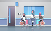 disabled arabic people injured in various cases arab patients sitting in wheelchair woman with prosthetic leg accident disability concept hospital corridor interior full length vector illustration